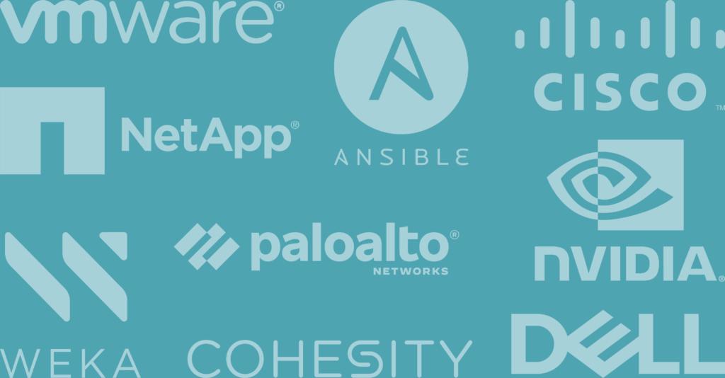 Vmware NetApp Ansible Cisco nvidia weka cohesity dell logo baner
